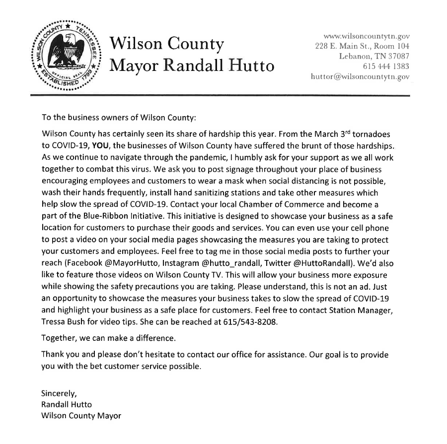 Message from Mayor Randall Hutto to local businesses