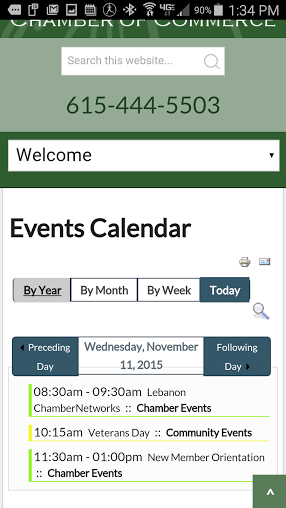 Search For Events On Chamber's Calendar