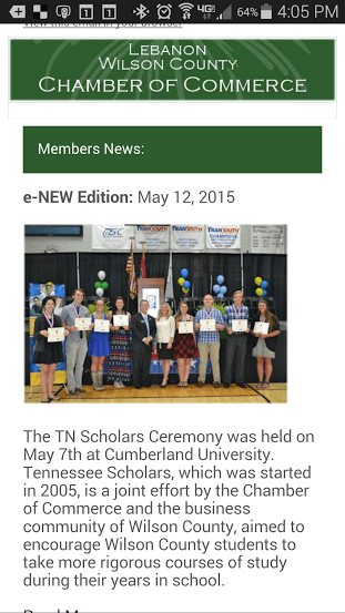 The Lebanon Wilson Chamber Mobile e-NEWS